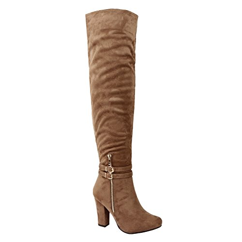 Guilty Shoes Knee Sexy Fashion - High Block Chunky Heel Fitted Buckle Zipper Boots, Taupe Suede, 6.5