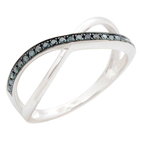 Beautiful Round Brilliant Cut Blue Diamond Criss cross Eternity Ring, 10k White Gold Size 8