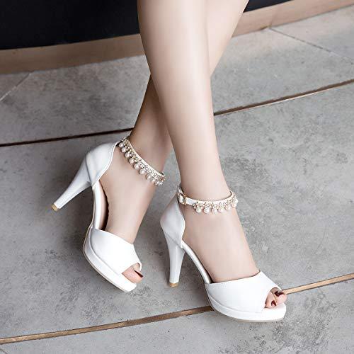 Zpfme Élégantes Mariage Bureau Chaussures Blanc Moyen Col Talon Femmes Plateforme Sandales De Soirée Dames rrdwqC1