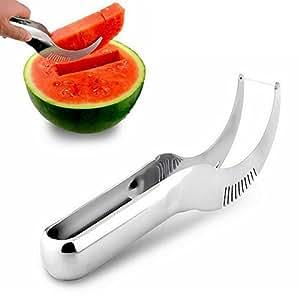 UNIQLED Multi-Use Stainless Steel Watermelon Slicer Corer Tongs Server Cantaloupe Honeydew Melon Fruit Cutter Peeler