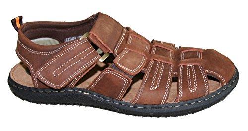 Lycklig Tjur Mens Casual Läder Komfort Fotbädd Fiskare Walking Sandaler Sz 6,5-13 (alaska) (alaska-13) Brun