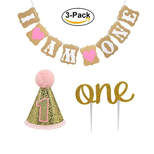 """Baby First Birthday Cake Topper Decoration & 1st Baby Girl Birthday Party Hat & Decorations Banner of """"I Am One""""- For Baby Girl"""