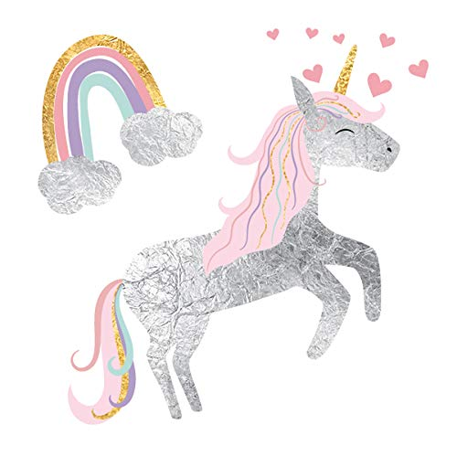 (Lovely Unicorn set of 25 premium waterproof metallic colorful temporary jewelry foil magical inspired Flash Tattoos - Party Favors, Party Supplies, unicorn, rainbow, fairy tale )