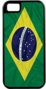 Rikki KnightTM Brazil Flag Black Tough-It Case Cover for iPhone5 & 5s (Double Layer case with Silicone Protection)