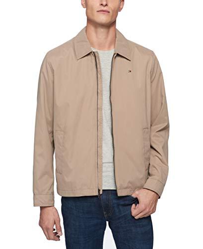 (Tommy Hilfiger Men's Lightweight Microtwill Golf Jacket, Khaki, Medium)