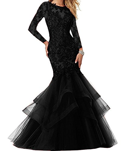 Lace Halter Dress Embroidered - Bonnie Beaded Lace Embroidered Prom Dresses 2018 Long Sexy Mermaid Formal Ball Gown with Long Sleeves BS014