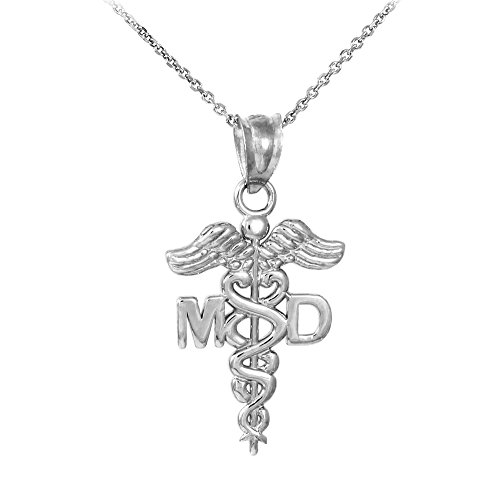 925 Sterling Silver Caduceus MD Charm Medical Doctor Pendant Necklace, 18