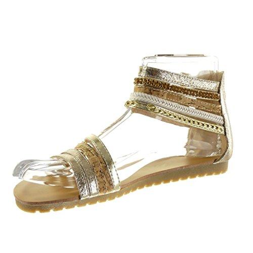 Angkorly - Scarpe da Moda sandali sexy donna multi-briglia catena lucide Tacco tacco piatto 1.5 CM - Oro