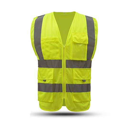 Large hi vis yellow mesh safety reflective vest with pockets and zipper |mesh high visibility clothing for men and women|constrcution work(L, Fluorescent yellow) by Hivizi