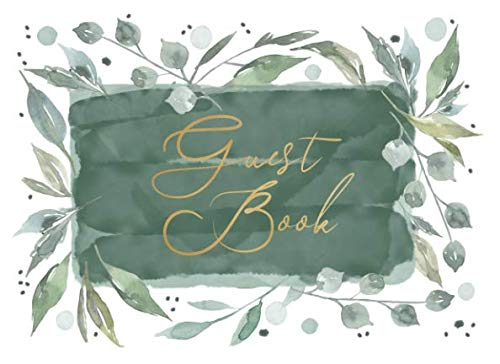 Guest Book: Romantic watercolor design with delicate leaves for natural-themed and outdoor weddings, showers and parties | 250 guests and their messages - Garden Guest Book