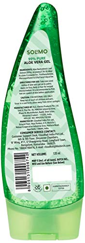 Amazon Brand – Solimo 99% Pure Aloe Vera Gel (Unscented, for Skin & Hair) – 120 ml (Pack of 2)