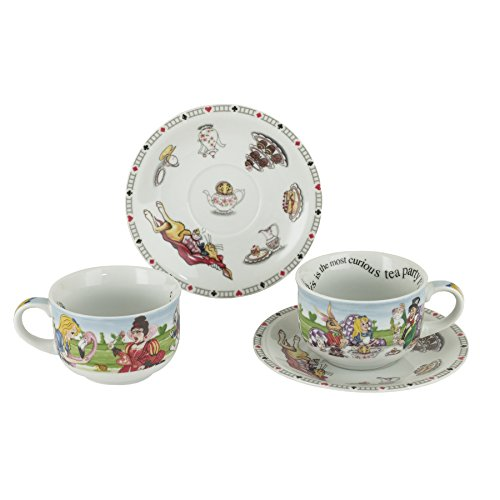 Cardew Design Alice in Wonderland Porcelain 8-Ounce Cup and Saucer, Set of 2
