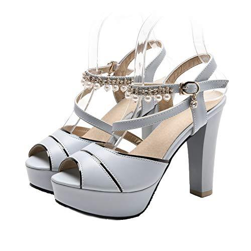 High Women's Pu Buckle Solid VogueZone009 Sandals CCALP014932 Open Blue Heels Toe gpfwPS