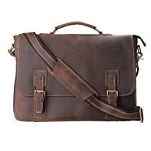 Kattee Men's Cow Leather Messenger Bag Briefcase Laptop Bag