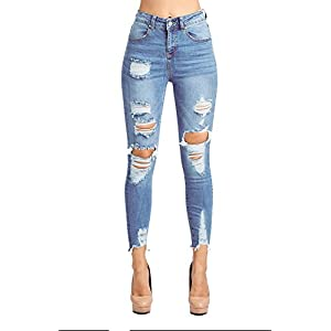 Blue Age Womens Destroyed Stretch Skinny Jeans Denim