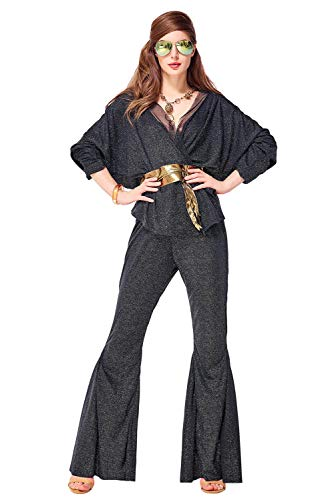Womens Vintage 70s Dancing Fox Disco Dall Dazzler Costume Black]()