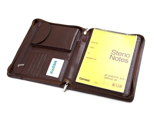 Compact Deluxe Leather Padfolio Case, Fits Dell Venue 8 Pro Tablet and Junior Legal Paper