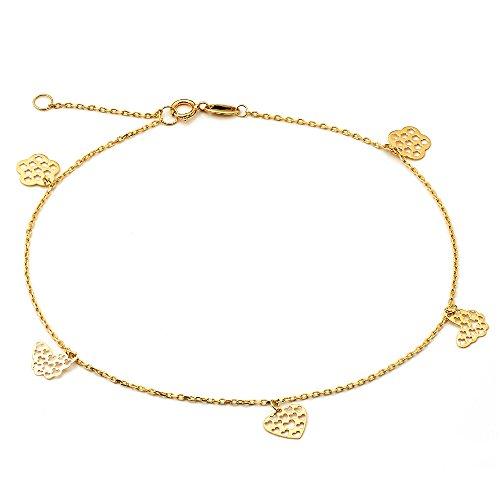(LoveBling 10K Yellow Gold .50mm Diamond Cut Rolo Chain w/Flower, Butterfly, Heart pendants Anklet Adjustable 9