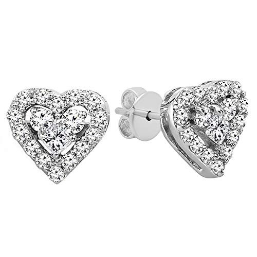 Round Shaped Earrings Diamond Heart - Dazzlingrock Collection 0.55 Carat (ctw) 10K Round & Princess Diamond Ladies Heart Shaped Stud Earrings 1/2 CT, White Gold
