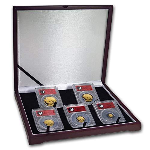 CN 2018 China 5-Coin Gold Panda Set MS-70 PCGS (FS, Yin-Yang) MS-70