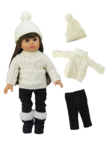 Cream Sweater Pant Set with Hat   Fits 18