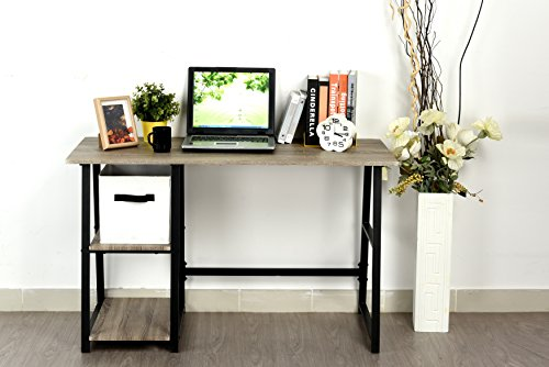 Weathered Grey Oak Computer Writing Study Trestle Desk Modern Vintage Home Office - Finish: Weathered Grey Oak Materials: Wood Veneer, Metal, MDF Great storage space with Shelves and Large Table Top - writing-desks, living-room-furniture, living-room - 41eVdjLyiFL -