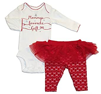 Carter's Just One You Mommys Favorite Gift Baby Girls 2 Piece Bodysuit and Tutu Pants Set (Newborn) Red