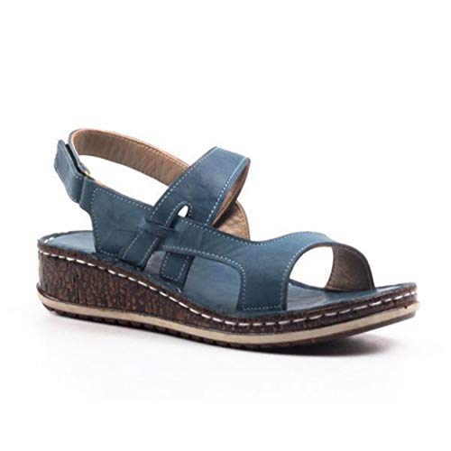 Casual Wedge Buckle Sandals for Women, Huazi2 Summer Hollow Out Walking Shoes Blue (Spike Adams Sneaker)