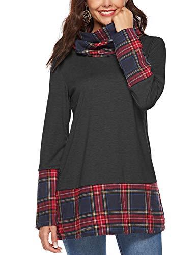 Asymmetric Tunic - HUHHRRY Long Sleeve Women's Cowl Neck Asymmetric Hem Tunic Tops with Pockets
