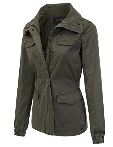 Review DRESSIS Women's Lightweight Military Anorak Jacket OLIVE M