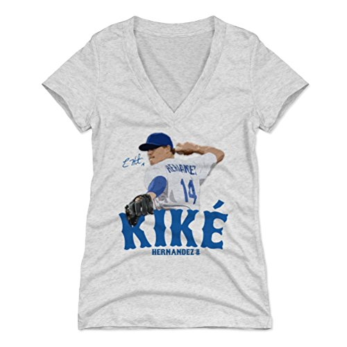 500 LEVEL Enrique Hernandez Women's V-Neck Shirt XX-Large Tri Ash - Los Angeles Baseball Women's Apparel - Enrique Hernandez Signature B (Womens 07 T-shirt)