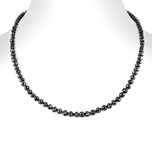 Barishh 65 cts Black diamond necklace -Beads 4mm-5mm.16 inches. Excellent Shine.Certified by Barishh