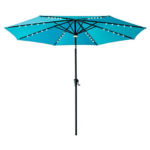 FLAME&SHADE 11' LED Outdoor Patio Market Umbrella with Solar Power LED Lights, Crank Lift, Push Button Tilt, Aqua Blue