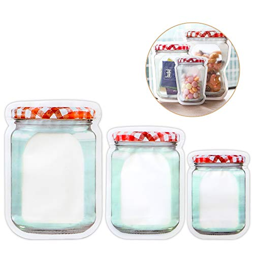 Luxcathy 10 Counts Plastic Storage Zipper Bags Set (L/1000ml x 3 + M/500ml x 4 + S/150ml x3) - Airtight, Reusable, Standup and Portable for foodsaver, Jelly Jars Look