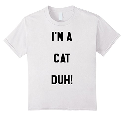 Kids Im a Cat Duh Shirt Costume, Funny Easy Halloween Shirts 12 White