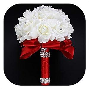 mamamoo Cheapest PE Rose Bridesmaid Wedding Foam Flowers Rose Bridal Bouquet Ribbon Fake Wedding 9 Color S30 14