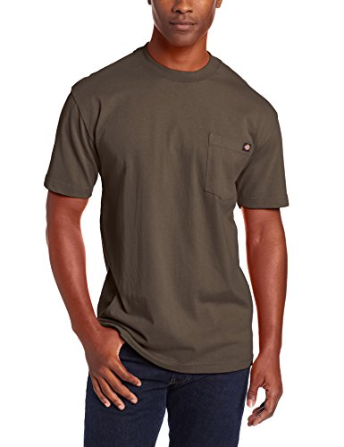 - Dickie's Men's Short Sleeve Heavyweight Crew Neck Pocket T-Shirt, Black Olive, Medium