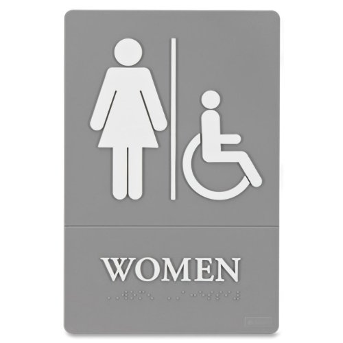 Quartet ADA Approved Women's Restroom Sign, Wheelchair Accessible Symbol with Tactile Graphics, Molded Plastic, 6 x 9 Inches, Gray (01415)