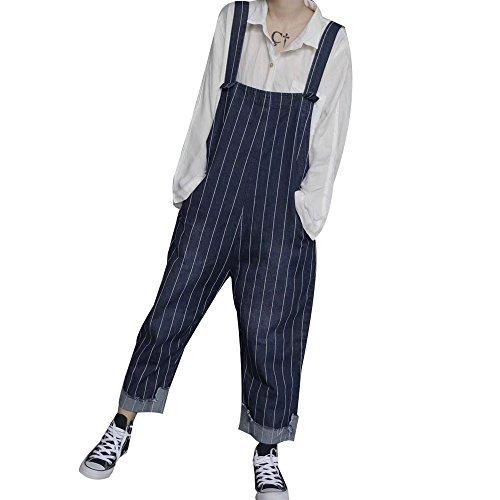 政府赤擬人【福丸】 デニム サロペット レディース オールインワン 体型カバー ストライプ ゆったり ガウチョパンツ 大きいサイズ ズボン ワイドパンツ