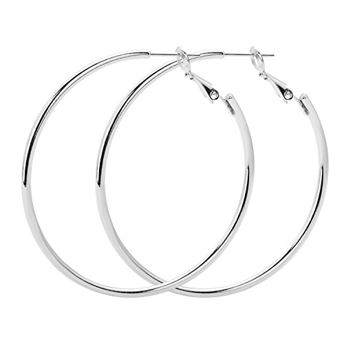 Rugewelry 925 Sterling Silver Hoop Earrings,18K Gold Plated Polished Round Hoop Earrings For Women,Girls' Gifts ()