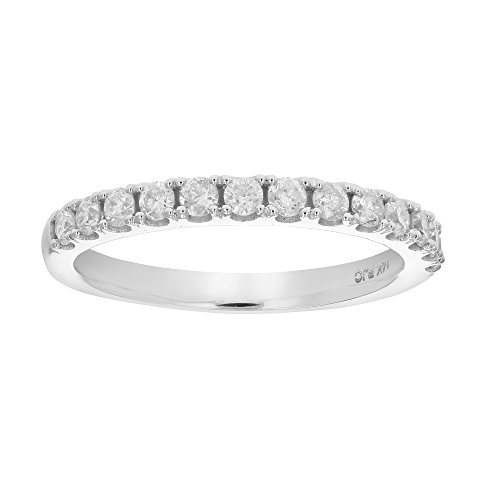 1/2 ctw AGS Certified I1-I2 Diamond Wedding Band in 14k White Gold in Size - Wedding Prong Diamond Band
