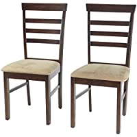 Target Marketing Systems Set of 2 Carson Ladder Back Dining Chairs with Upholstered Seat and Tapered Legs, Set of 2, Espresso