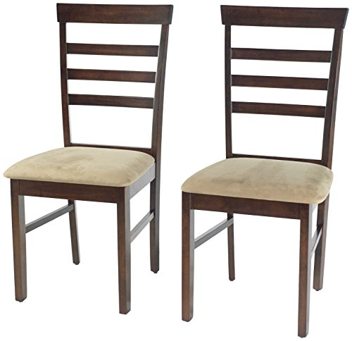 - Target Marketing Systems Set of 2 Carson Ladder Back Dining Chairs with Upholstered Seat and Tapered Legs, Set of 2, Espresso