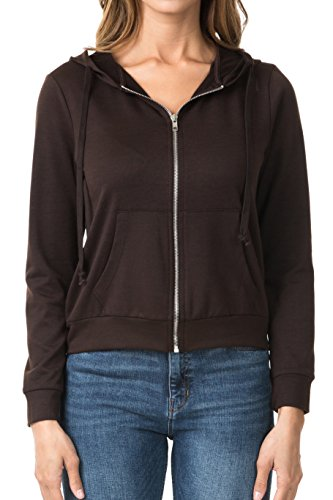 Terry Hoodie - WeSeeFashion WSF Women's Zip up French Terry Extra Lightweight Hoodie Sweater Jacket with Pocket Large Brown