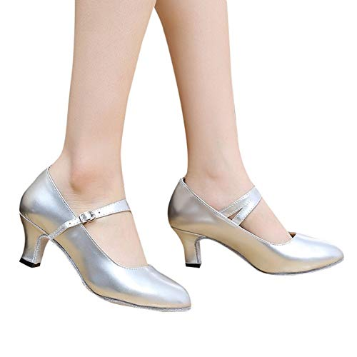 - Women's Buckled Dressy Round Toe Low Cut Block Mid Heel Pumps Shoes Patent Leather with Ankle Strap by Lowprofile Silver