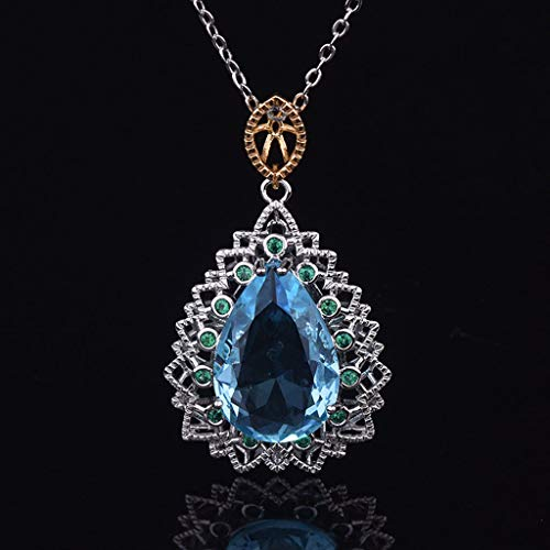 NIHAI Water Drop Necklace Women's Jewelry Natural Blue Topaz Pendant Necklace Simple Party Necklace, Best Gift for Valentine's Day Girlfriend