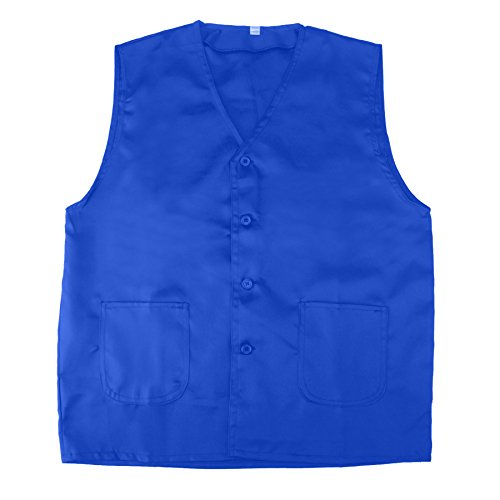 TOPTIE Vest for Supermarket Clerk Work Uniform Vests with Pockets & Front Button Blue-XXL