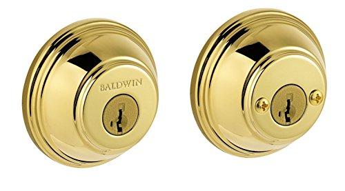 - Baldwin Prestige 385 Round Double Cylinder Deadbolt Featuring SmartKey in Lifetime Polished Brass