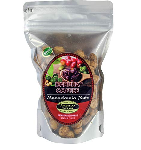 Premium Hawaiian Macadamia Nuts, Kahlua Coffee Flavored Superfood Power Snack, Half Pound Bag, Grown and Made in Hawaii