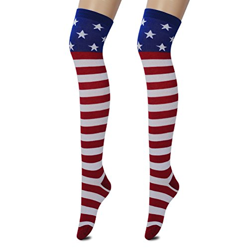 Skirt Top Socks (Zelta Women's USA Flag Knee High Socks Stars & Stripes Design (Red))